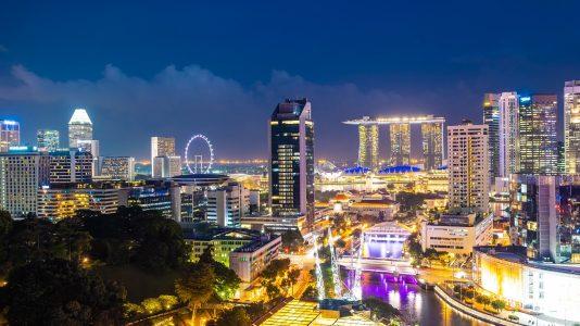 Beautiful architecture building exterior of singapore city
