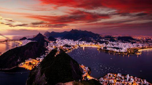 Beautiful panorama of Rio de Janeiro at twilight, Brazil. Sugarloaf Mountain