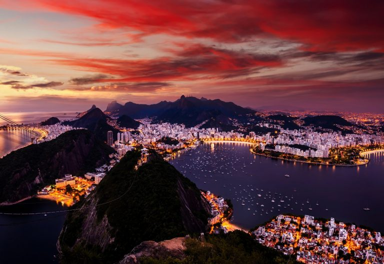 Beautiful panorama of Rio de Janeiro at twilight, Brazil. Sugarloaf Mountain