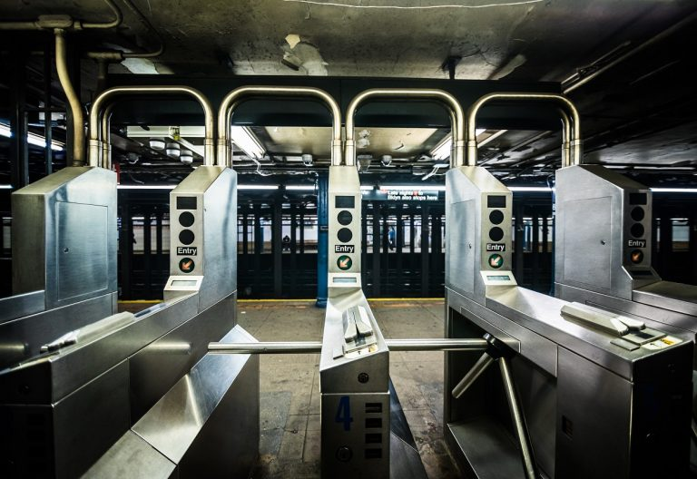 Underground Subway Gates in New York City on line tree.
